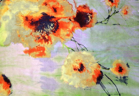 The orange flowers drawn by a watercolor