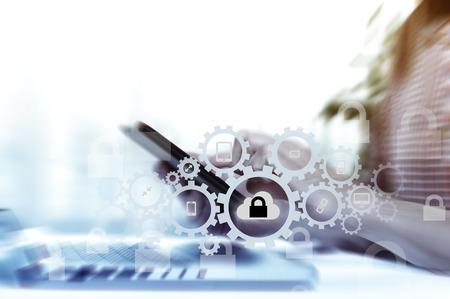 Photo pour Protect cloud information data concept. Security and safety of cloud data. - image libre de droit