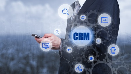 Photo pour CRM Customer Relationship Management Business Internet Techology Concept. - image libre de droit