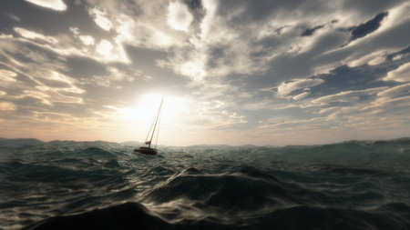 Lost sailing boat in wild stormy ocean. Cloudy sky.