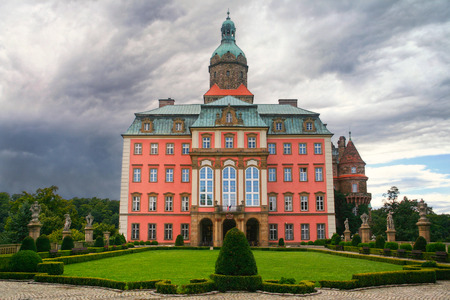 Walbrzych, Poland - August 7, 2012: Castle of Ksiaz located in the middle of a forest on the hill in the Walbrzych district, Poland.  Originally the castle was  built in 1288-1292 under Bolko I the Strict.The present baroque appearance of the castle was r