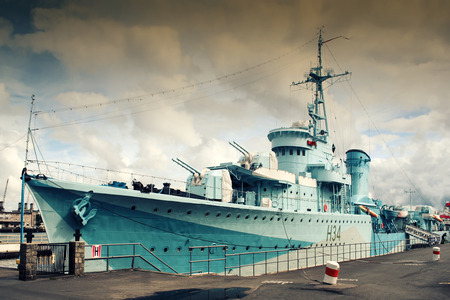 Gdynia, Poland - September 7, 2007: ORP Blyskawica destroyer. The ship was constructed in 1935, and fought during World War II.