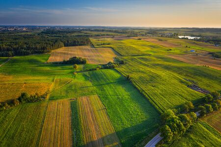 Photo pour Aerial view of a country agricultural landscape. Masuria, Poland. - image libre de droit