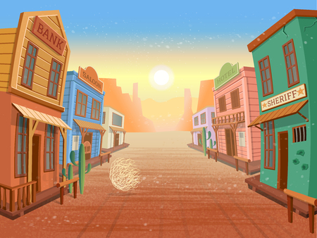 Illustration for Western town. Illustration in cartoon style - Royalty Free Image