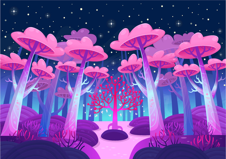 Illustration for A gaming background, nature landscape. Night forest with magical trees and a lake. Cartoon style vector - Royalty Free Image