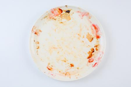 Photo pour dirty and empty dish on white background - image libre de droit