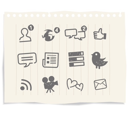 Illustration for social media icons drawing sketch - Royalty Free Image