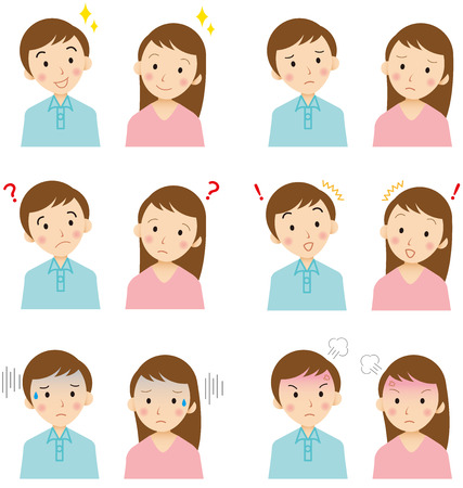 Illustrazione per young  faces Vector - Immagini Royalty Free