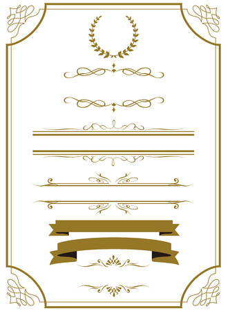 Illustration pour decorative gold frame set Vector - image libre de droit