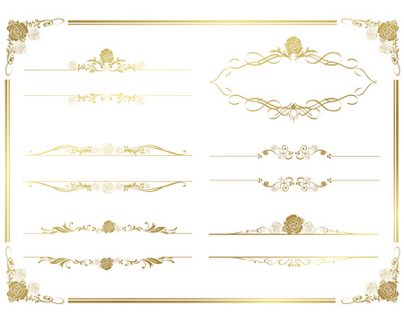 decorative gold frame set Vectorのイラスト素材