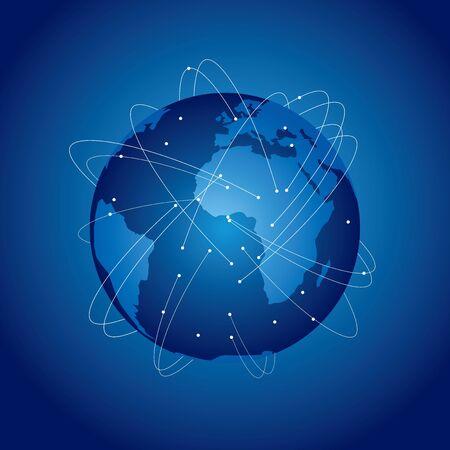 Illustration pour World map Social networking service Vector - image libre de droit