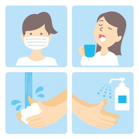 Illustration for washing hands mask gargling illustration vector - Royalty Free Image