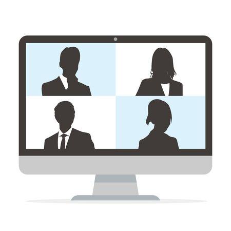 Ilustración de Virtual Meetings, Work from Home vector - Imagen libre de derechos