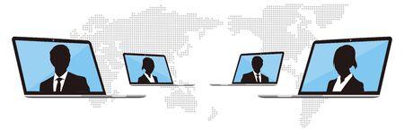 Illustration pour Virtual Meetings, Work from Home vector - image libre de droit