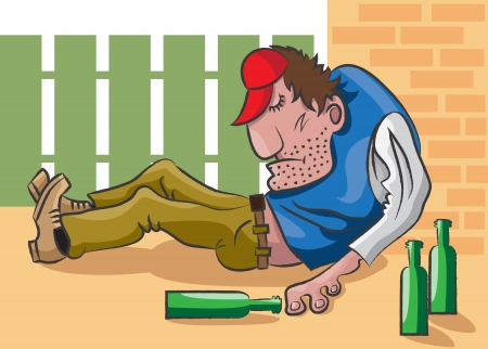The adult man lies on the street in an unconsciousness and near him are empty bottles from under alcohol