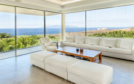 Living room in the modern villa with sea view