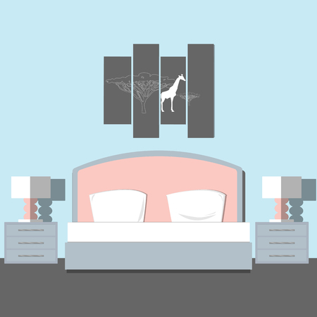 BedRoom modern interior. Room interior design with furniture, bed, nightstand lamp, night light and picture. Flat style vector illustration.