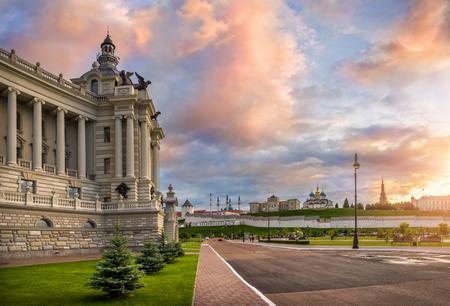 Sunset with pink clouds over the Kazan Kremlin