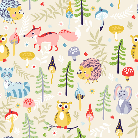 Photo pour Seamless pattern with cute cartoon forest animals and different plants on beige background. Vector illustration for children. - image libre de droit