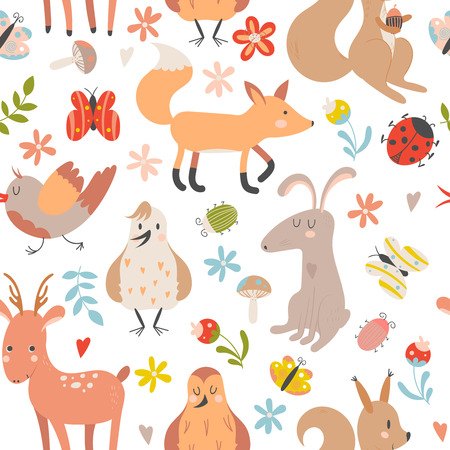 Illustration for Seamless pattern with cute cartoon forest animals on white background. Children vector illustration. - Royalty Free Image