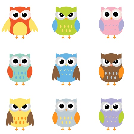 Owls with nine color combinations