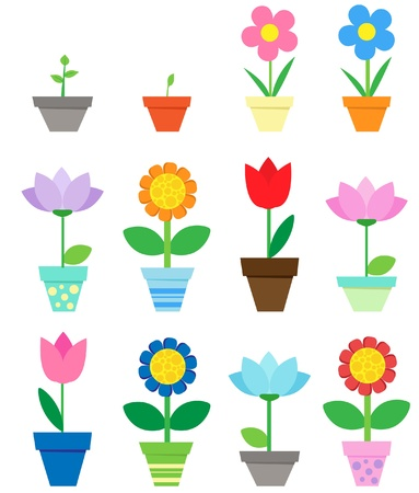 Illustration pour Flowers in pots - clip art - image libre de droit