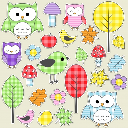 Illustration pour Set of autumnal textile stickers. - image libre de droit
