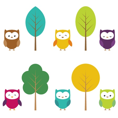 Owls in six color combinations and four color tree