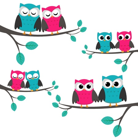 Four couples of owls sitting on branches.のイラスト素材