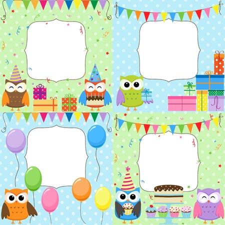 Ilustración de Set of vector birthday cards with cute owls. - Imagen libre de derechos