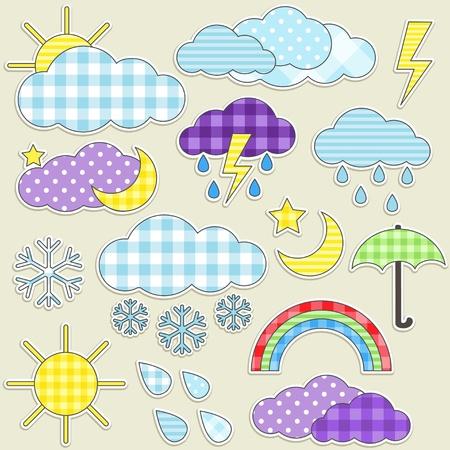 Ilustración de Set of weather textile stikers - Imagen libre de derechos