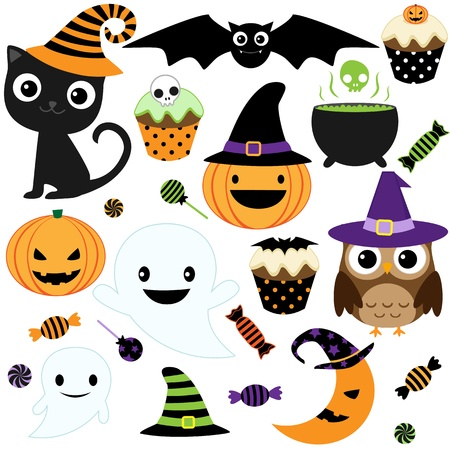 Set of cute vector Halloween elements, objects and icons for your design