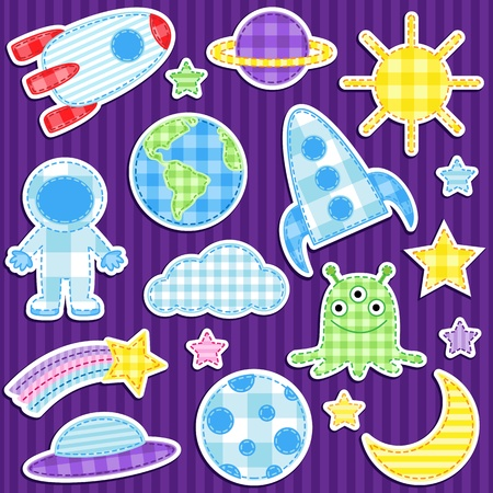 Set of cute colorful outer space stickers