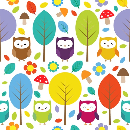Owls trees leafs mushrooms and flowers - seamless forest pattern