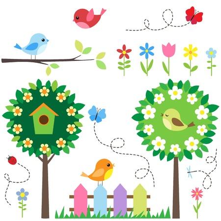 Ilustración de Garden set with birds, blooming trees, flowers and insects. - Imagen libre de derechos