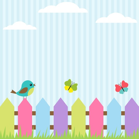 Illustration for Background with bird and flying butterflies - Royalty Free Image