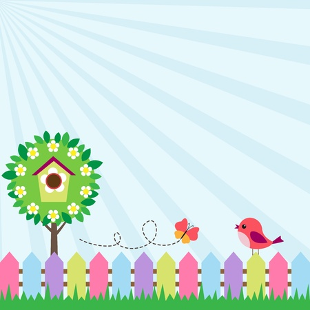 Illustration for Background with bird and flying butterfly near blooming tree - Royalty Free Image