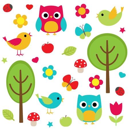 set - owls, birds, flowers, butterflies, ladybugs etc