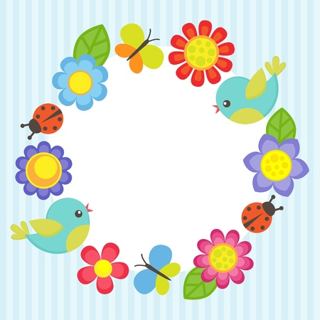 Frame with flowers, birds, ladybugs and butterflies