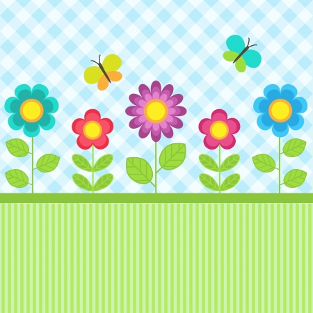 Background with flowers and flying butterflies