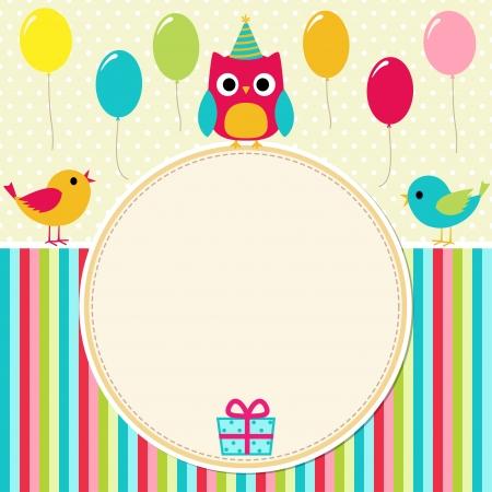 Ilustración de Birthday card with birds - Imagen libre de derechos