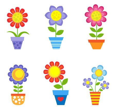 Set of bright vector flowers in pots