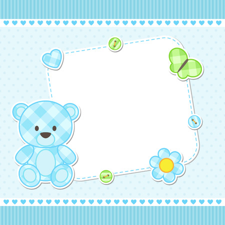 Illustration for Card with blue teddy bear for boy. Vector template with place for your text - Royalty Free Image