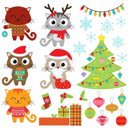 Ilustración de Christmas vector set of cats in costumes, gifts, tree, ornaments and snowflakes - Imagen libre de derechos