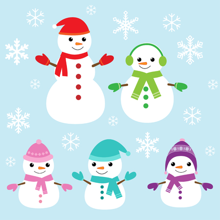 Set of vector cute snowmen and snowflakes