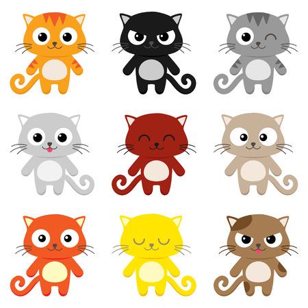 Illustration pour Set of 9 cartoon cats with various expressions - image libre de droit