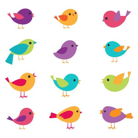 Ilustración de Vector set of colorful and bright birds - Imagen libre de derechos