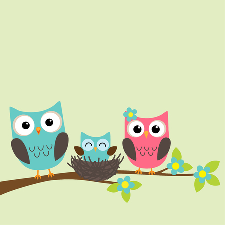 Illustration pour Family of owls with newborn owlet sitting on the branch of blooming tree - image libre de droit