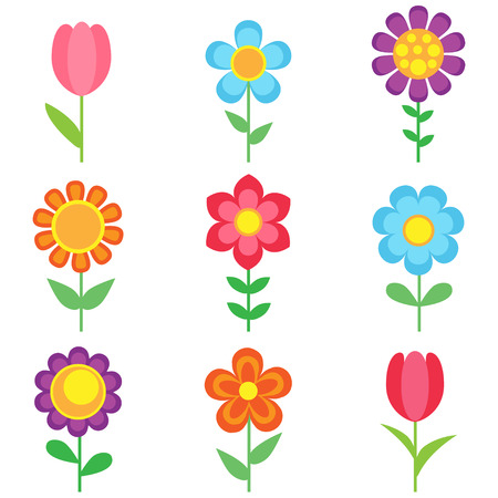 Illustration for Set of different vector flowers. Bright and colorful flower icons - Royalty Free Image
