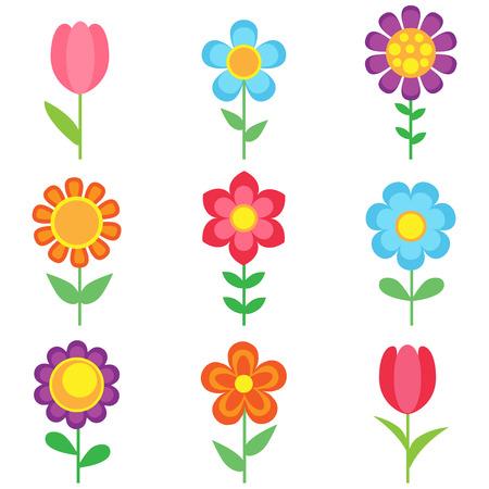Illustration pour Set of different vector flowers. Bright and colorful flower icons - image libre de droit